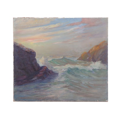 Seascape Oil Painting Attributed to Amos Birdsall Jr.