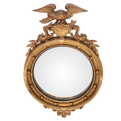 Regency Style Gilt Convex Mirror, Mid-20th Century