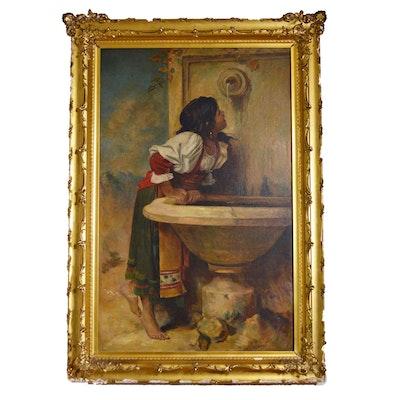 """Mixed Media Painting after Léon Bonnat """"Roman Girl at a Fountain"""""""