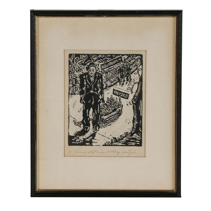 "George Randall Brubaker Woodcut ""A Funny Old Man Selling Pretzels"""