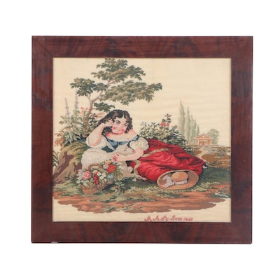 Handmade Pastoral Cross-Stitch Picture, Circa 1860