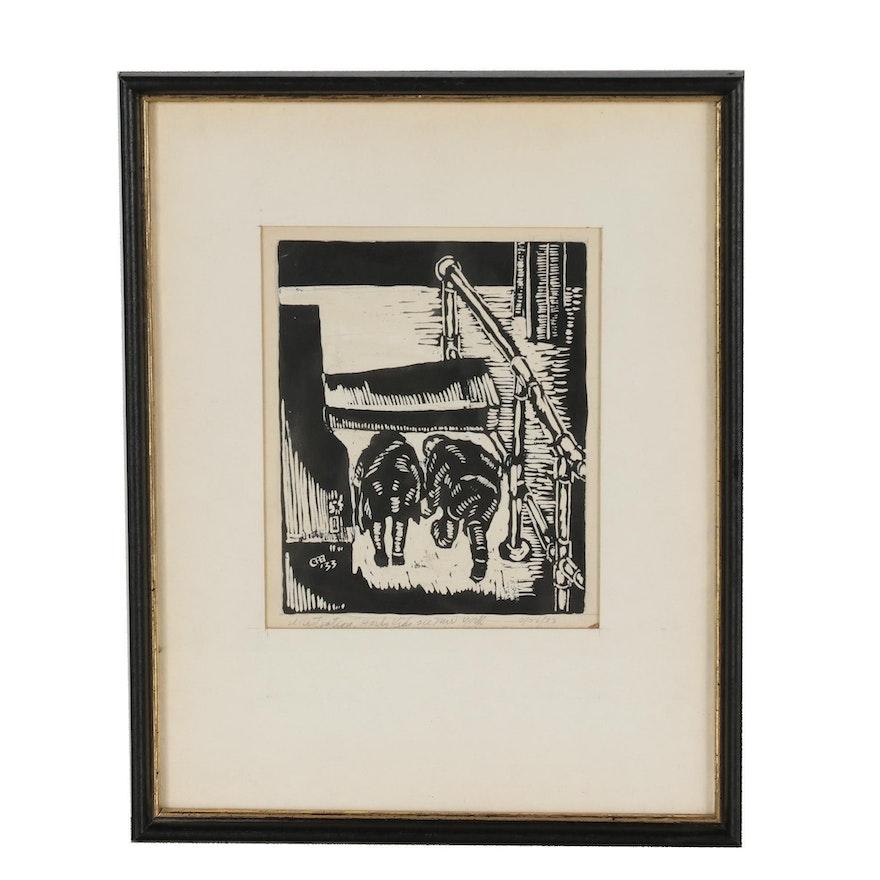 "George Randall Brubaker Woodcut ""Hardy Kids See New York"""