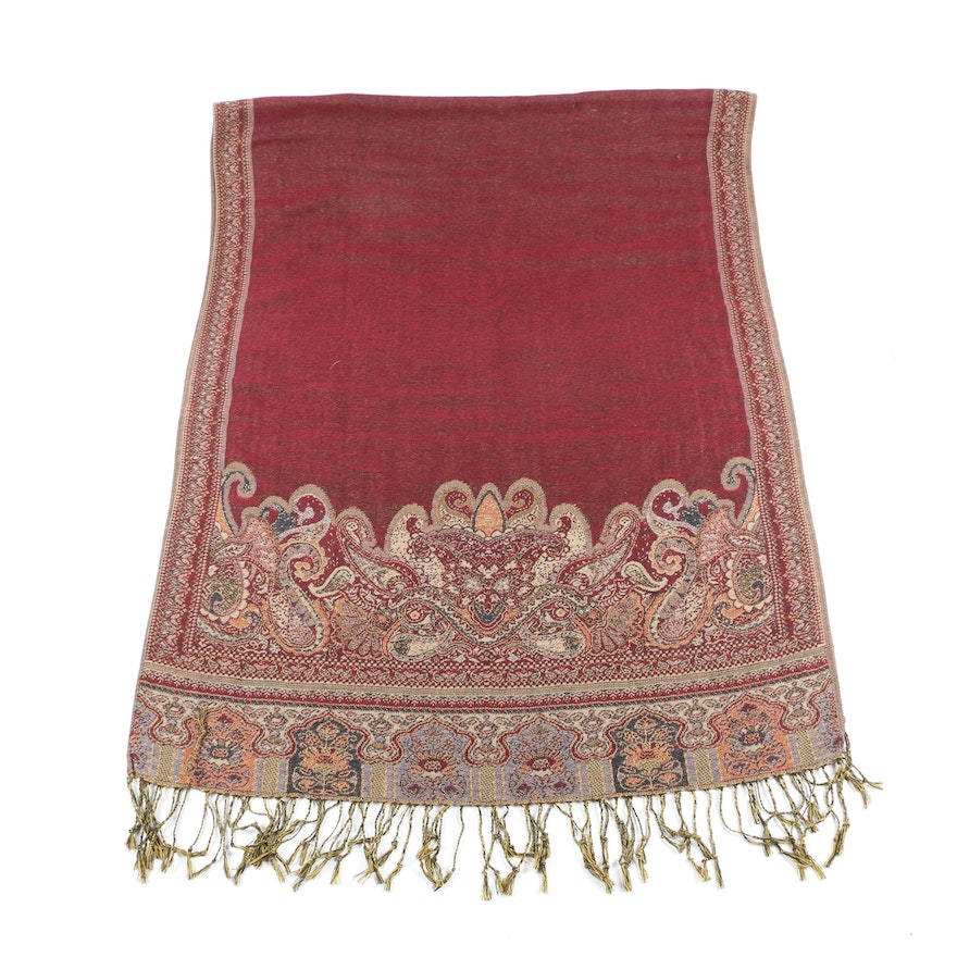 Indian Woven Wrap in Paisley and Floral Design with Hand-Knotted Fringe