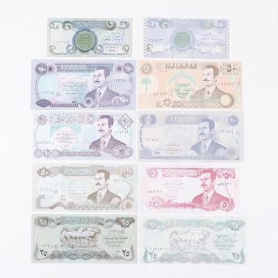 Group of Ten Iraqi Banknotes