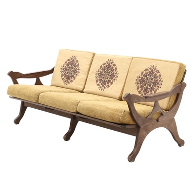 Mid Century Modern Style Wooden Sofa with Cushions, Mid to Late 20th Century