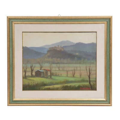 Late 20th Century Rural Landscape Oil Painting