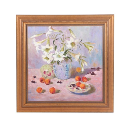 Post-Impressionist Style Floral Still Life Oil Painting