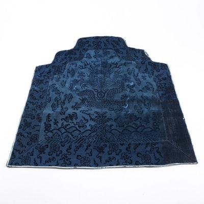 Imperial Chinese Silk Velvet Dragon Motif Throne Back, Mid-Qing Dynasty