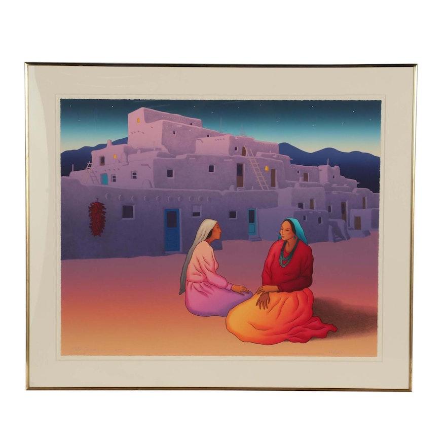 "R.C. Gorman Color Lithograph ""Taos Storytellers"""""