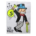 "Will $treet Pop Art Acrylic Painting ""Money Bag"""