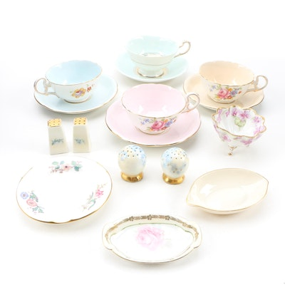 Bone China Teacups and Saucers with Ashtrays and Other Tableware