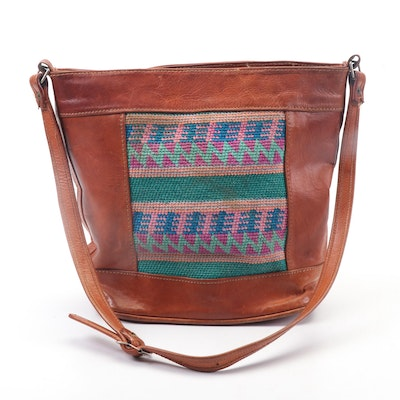 Handmade Leather Bucket Bag With Needlepoint Detail