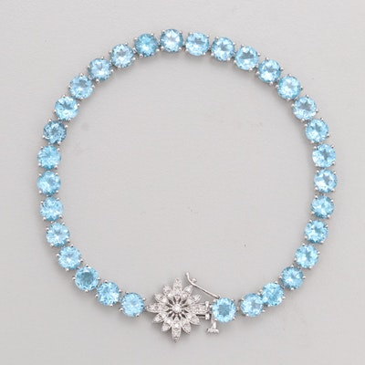 14K White Gold 20.00 CTW Blue Topaz and Diamond Bracelet