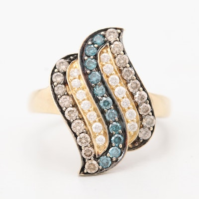 14K Yellow Gold Blue Diamond and Diamond Ring
