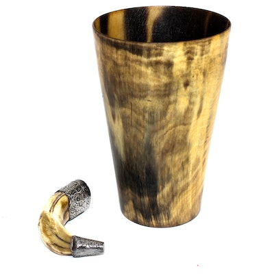 Boar Tusk Snuff with Carved Horn Tumbler