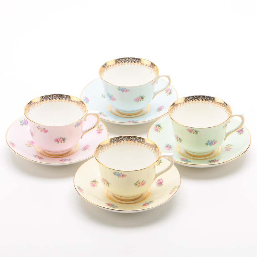 Colclough Floral Bone China Teacups and Saucers for Four
