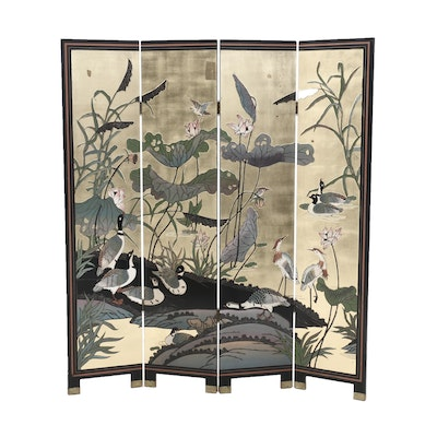 Chinese Gilt Coromandel Lacquer Folding Screen with Water Bird Motif