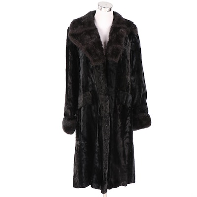Faux Broadtail Lamb and Fur Collar Coat, 1970s Vintage