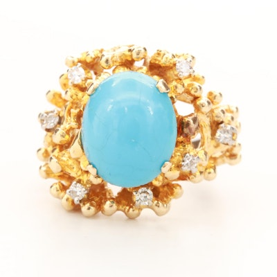 14K Yellow Gold Imitation Turquoise Ring with Diamond Accents