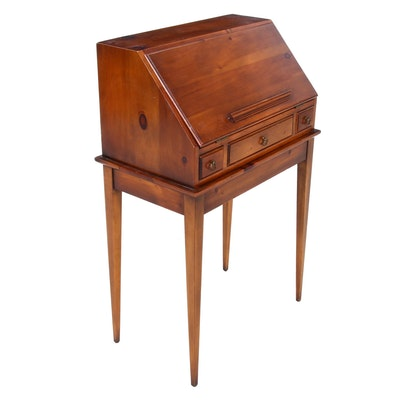Colonial Style Maple Slant Front Secretary, Late 20th Century