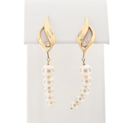 14K Yellow Gold Cultured Pearl and Diamond Drop Earrings