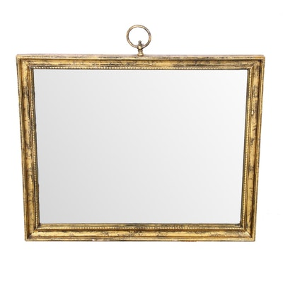 Gold Antiqued Finish Beveled Mirror with Ring Hanger, Mid-20th Century