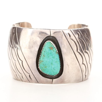 Southwestern Style Sterling Silver Cuff with Freeform Turquoise Cabochon Accent