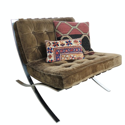 Mid Century Modern Tufted Leather Barcelona Style Chair with Kilim Pillows