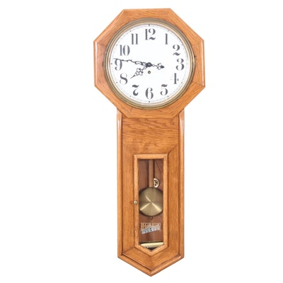 Oak Regulator Wall Clock, 20th Century