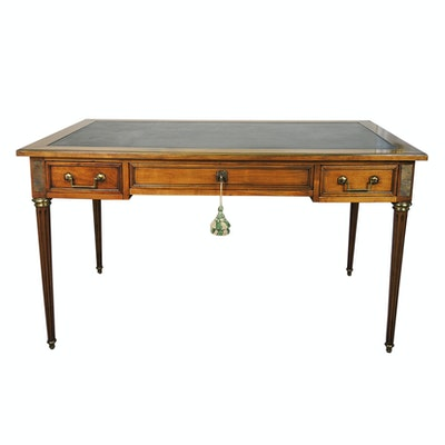 Louis XVI Style Leather Top Cherry Writing Desk, Mid 20th Century