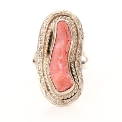 Southwestern Sterling Silver Coral Ring