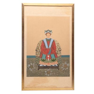 Chinese Gouache Ancestor Portrait