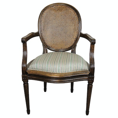 Bloomingdale's Louis XVI Style  Cane Back Armchair, Mid to Late 20th Century
