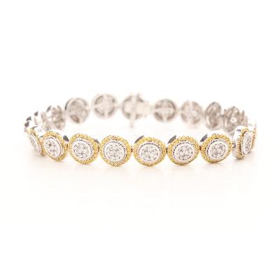 14K White Gold 2.75 CTW Diamond Bracelet with Halos of Yellow Diamonds