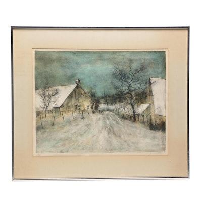 Bernard Gantner Winter landscape Lithograph