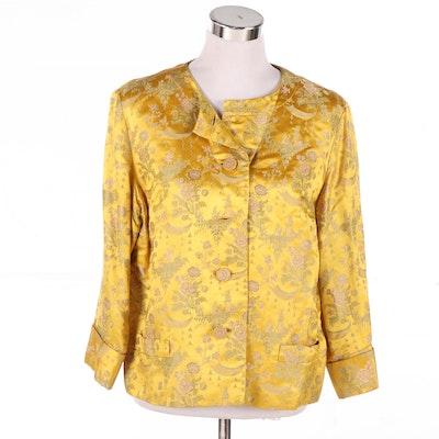 Dynasty of Hong Kong Yellow Silk Embroidered Brocade Jacket, Vintage