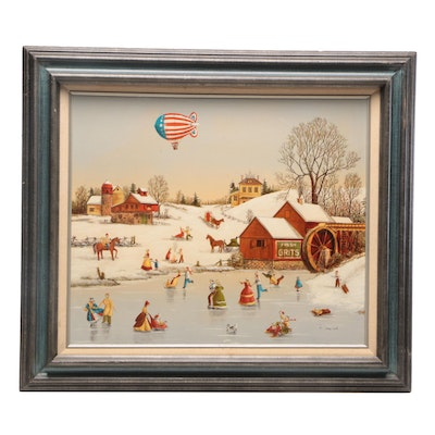 R. Smith Americana Serigraph of Winter Scene