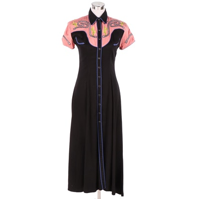 The Manuel Collection Embroidered Western Shirt Dress with Arrow Slit Pockets