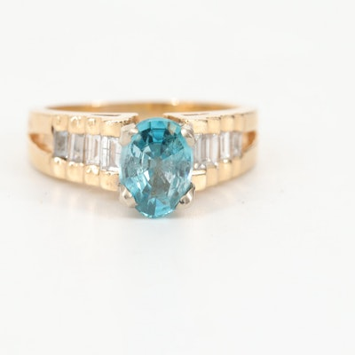 14K Yellow Gold, Blue Topaz and Diamond Ring with White Gold Accents