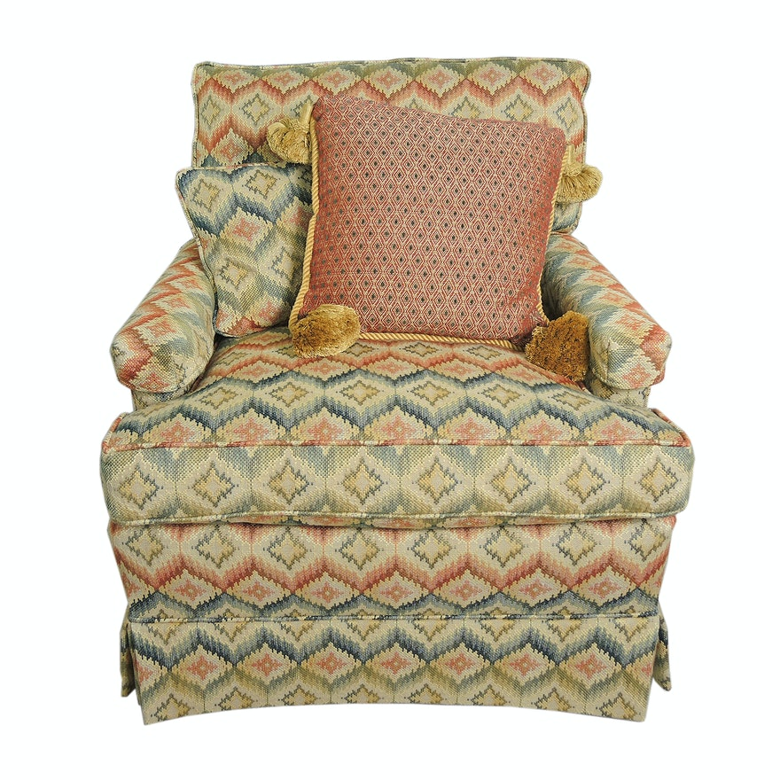 Flame Stitch-Upholstered Lounge Chair with Down Cushions, Late 20th Century