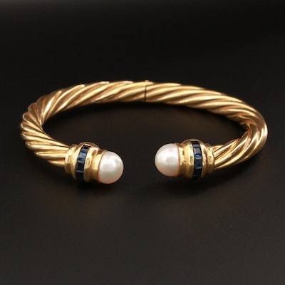 18K Yellow Gold Cultured Pearl and Sapphire Hinged Cuff Bracelet