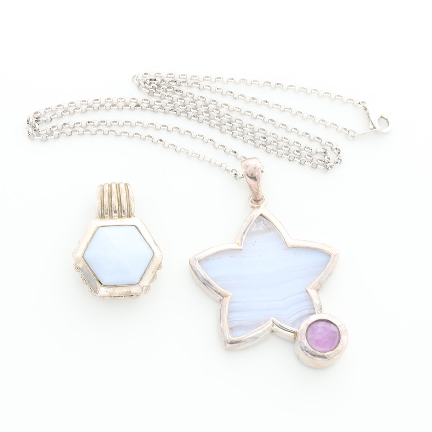Sterling Silver Agate and Amethyst Pendant and Star Shaped Pendant Necklace