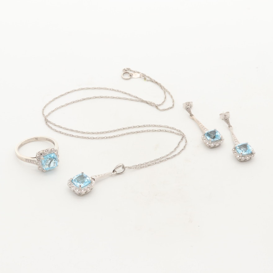 Sterling Silver Topaz Milgrain Necklace, Ring and Earrings Set