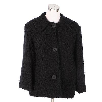 Faux Black Persian Lamb Jacket, 1960s Vintage
