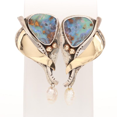 Patricia Karnes Sterling and 14K Gold Opal and Cultured Pearl Drop Earrings