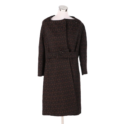 Women's Quilted Dress Coat in Brown and Black, Late 1960s Vintage