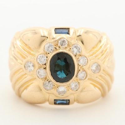 18K Yellow Gold Sapphire and Diamond Ring