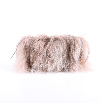 Tasha Tarno Curly Lamb and Goat Hair Leather Clutch