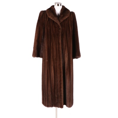 Revillon for Saks Fifth Avenue Mink Fur Full-Length Coat with Shawl Collar