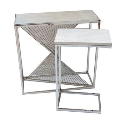 Modern Abstract Chrome Spindle Console & Side Tables